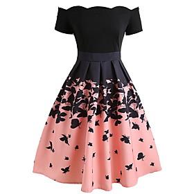 Women's A Line Dress - Short Sleeve Color Block Off Shoulder Elegant Party Blushing Pink S M L XL XXL