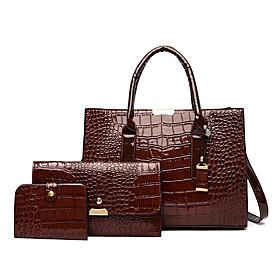 Women's Leather Bag Set Crocodile 3 Pcs Purse Set Black / Dark Brown / Wine