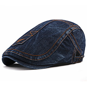 Men's Basic Polyester Beret Hat-Striped Fall Black Blue Royal Blue