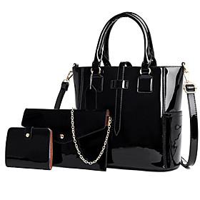 Women's PU Bag Set Solid Color 3 Pcs Purse Set Black / Purple / Blue