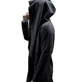 Men's Hooded Trench Coat Long Solid Colored Daily Long Sleeve Black US32 / UK32 / EU40 US34 / UK34 / EU42 US38 / UK38 / EU46