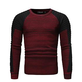 Men's Color Block Cardigan Long Sleeve Sweater Cardigans Round Fall Winter Red Dark Gray