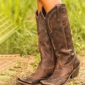 Women's Boots Cowboy / Western Boots Low Heel Round Toe PU Mid-Calf Boots Winter Black / Brown / Yellow