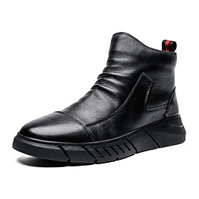 Men's Comfort Shoes Fall  Winter Casual / British Daily Boots PU Wear Proof Booties / Ankle Boots Black