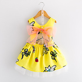 Kids Toddler Girls' Sweet Cute Geometric Solid Colored Lace Bow Sleeveless Knee-length Dress Yellow