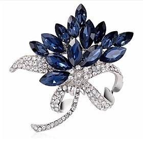 Women's Cubic Zirconia Brooches Classic Flower Classic Basic Brooch Jewelry Blue For Party Graduation Gift Daily Festival