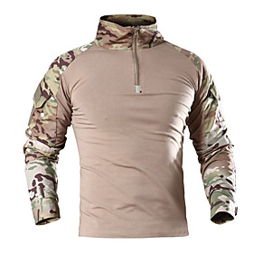 Men's Hunting Shirt Outdoor Windproof Warm Heat Retaining Wear Resistance Spring Summer Fall Camo / Camouflage Top Cotton Long Sleeve Camping / Hiking Hunting