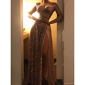 Women's A-Line Dress Maxi long Dress - Sleeveless Solid Colored Split Off Shoulder Elegant Party Gold S M L XL