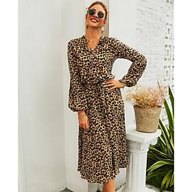 Women's A-Line Dress Long Sleeve Leopard V Neck Basic Light Brown S M L XL