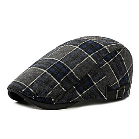 Men's Basic Polyester Beret Hat-Striped Fall Red Brown Navy Blue
