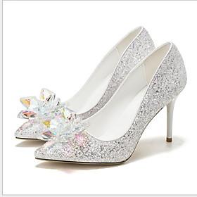 Women's Wedding Shoes Stiletto Heel Pointed Toe Rhinestone PU Winter White / Silver