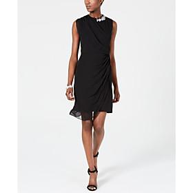Sheath / Column Little Black Dress Holiday Cocktail Party Dress Jewel Neck Sleeveless Short / Mini Chiffon with Crystals Side Draping 2020