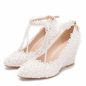Women's Wedding Shoes Glitter Crystal Sequined Jeweled Wedge Heel Pointed Toe Wedding PU White