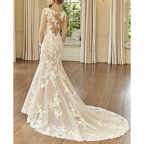 Mermaid / Trumpet Wedding Dresses Jewel Neck Court Train Lace Long Sleeve Romantic See-Through Illusion Sleeve with Embroidery 2020