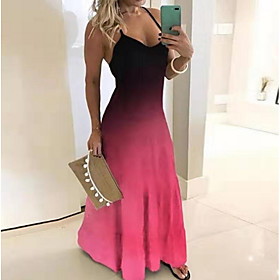 Women's Maxi Swing Dress - Sleeveless Color Block Strap Black Blue Purple S M L XL XXL XXXL XXXXL XXXXXL