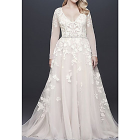 A-Line Wedding Dresses V Neck Court Train Lace Tulle Long Sleeve Illusion Sleeve with Beading Appliques 2020