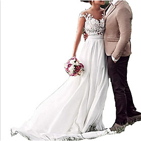 A-Line Wedding Dresses V Neck Sweep / Brush Train Chiffon Lace Cap Sleeve with Lace Insert 2020