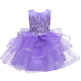 Kids Toddler Girls' Active Cute Floral Solid Colored Lace Sequins Beaded Sleeveless Knee-length Dress Purple