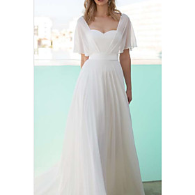 A-Line Wedding Dresses Scoop Neck Floor Length Chiffon Charmeuse Short Sleeve with Draping 2020