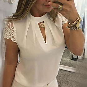 Women's Blouse Shirt Solid Colored Lace Cut Out Patchwork Round Neck Tops Slim Basic Top White Black Blue