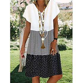 Women's A-Line Dress Knee Length Dress - Short Sleeve Polka Dot Striped Print Summer V Neck Plus Size Casual Hot Boho 2020 Black Red Yellow S M L XL XXL 3XL 4X
