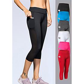 YUERLIAN Women's High Waist Yoga Pants Pocket Capri Leggings 4 Way Stretch Breathable Quick Dry White Black Red Mesh Spandex Fitness Gym Workout Runn
