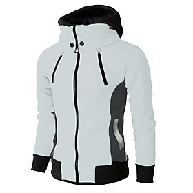 Men's Hoodie Zip Up Hoodie Solid Colored Hooded Casual Hoodies Sweatshirts  Dark Gray Beige Gray