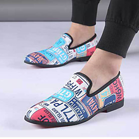 Men's Loafers  Slip-Ons Formal Shoes Dress Shoes Moccasin Casual / Vintage Party  Evening Office  Career Walking Shoes PU Breathable Non-slipping Black / Blue