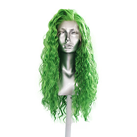 Synthetic Lace Front Wig Loose Curl Side Part Lace Front Wig Long Green Synthetic Hair 18-30 inch Women's Cosplay Heat Resistant Classic Green / Natural Hairli
