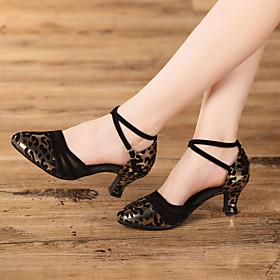 Women's Dance Shoes Modern Shoes / Ballroom Shoes / Line Dance Heel Leopard / Animal Print Cuban Heel Leopard / Black / Silver / Performance / Satin / Practice