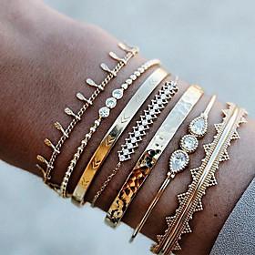 7pcs Women's Crystal Bracelet Bangles Cuff Bracelet Bracelet Beaded Layered Classic Drop Wave Arrow Statement Luxury Punk European Fashion Rhinestone Bracelet