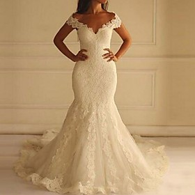 Mermaid / Trumpet Wedding Dresses Off Shoulder Court Train Lace Short Sleeve Sexy Illusion Detail Backless with 2020