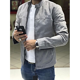 Men's Daily Fall  Winter Regular Jacket, Solid Colored Stand Long Sleeve Polyester Black / Navy Blue / Gray