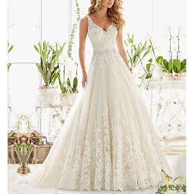 A-Line Wedding Dresses V Neck Court Train Lace Regular Straps with Crystals Beading Appliques 2020