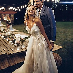 A-Line Wedding Dresses V Neck Sweep / Brush Train Lace Tulle Spaghetti Strap Simple Backless with Lace 2020