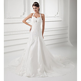 A-Line Wedding Dresses Halter Neck Court Train Taffeta Spaghetti Strap Simple Vintage Plus Size with Ruched Beading Appliques 2020