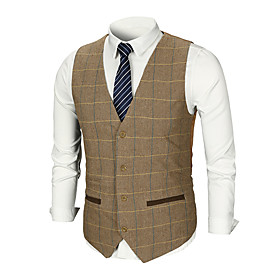 Men's Work Business / Basic Fall  Winter Regular Vest, Plaid / Solid Colored V Neck Sleeveless Cotton / Polyester Patchwork Brown / Dark Gray / Business Formal