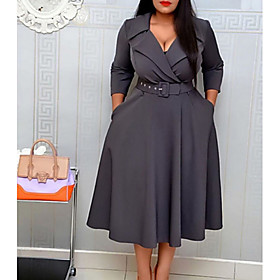 Women's A Line Dress - 3/4 Length Sleeve Solid Colored Shirt Collar Basic Daily Wear Wine Yellow Gray S M L XL XXL XXXL