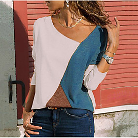 Women's Plus Size Blouse Shirt Color Block Long Sleeve Round Neck V Neck Tops Basic Top Blue Red Yellow