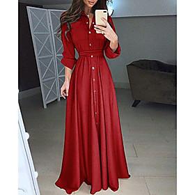 Women's Maxi Shirt Dress - Long Sleeve Solid Colored Shirt Collar White Black Blue Red Blushing Pink S M L XL XXL XXXL