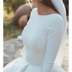 A-Line Wedding Dresses Jewel Neck Court Train Satin 3/4 Length Sleeve Formal Simple Backless Elegant with Buttons 2020