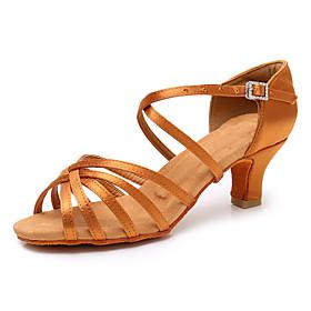 Women's Dance Shoes Satin Latin Shoes / Salsa Shoes Buckle Heel Cuban Heel Customizable Black / Dark Brown / White
