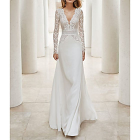 A-Line Wedding Dresses V Neck Court Train Lace Satin Long Sleeve Illusion Sleeve with Beading Lace Insert 2020