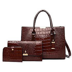 Women's Polyester / PU Bag Set Crocodile 3 Pcs Purse Set Black / Brown / Wine