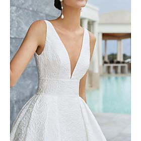 A-Line Wedding Dresses V Neck Court Train Satin Regular Straps Country Formal Backless with 2020