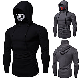 Men's Hoodie with Mask Running Shirt Long Sleeve Cotton Windproof Breathable Soft Fitness Running Jogging Sportswear Skull Protective Clothing Hoodie Top Dark