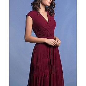 A-Line Elegant Formal Evening Dress V Neck Sleeveless Floor Length Chiffon with Pleats 2020