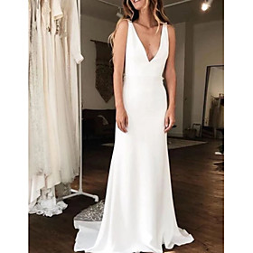A-Line Wedding Dresses V Neck Court Train Charmeuse Regular Straps with Draping 2020
