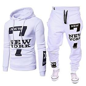 Men's 2-Piece Drawstring Tracksuit Sweatsuit Long Sleeve 2pcs Cotton Thermal Warm Moisture Wicking Soft Fitness Gym Workout Running Jogging Training Sportswear
