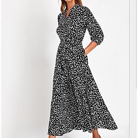 Women's A Line Dress - Geometric V Neck Black Blue S M L XL